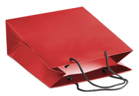paperbag: Red beamless paper-bag with cords. Stock Photo