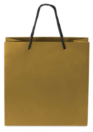 paperbag: Golden beamless paper-bag with cords.