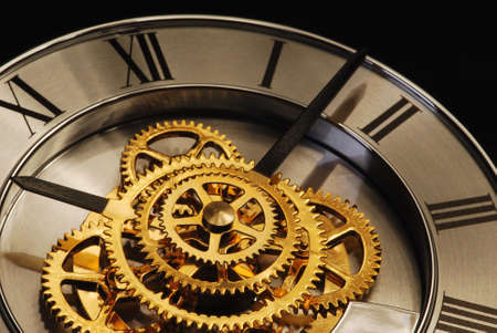 Golden Clock with gears and latin digits
