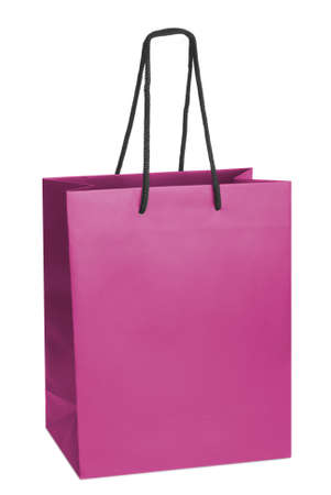 paperbag: Pink beamless paper-bag with cords Stock Photo