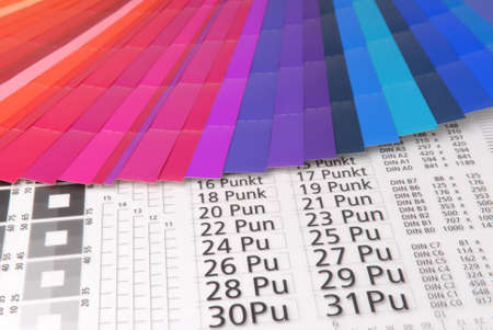 Typometer with color samples.  Stock Photo