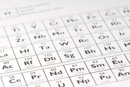 Macro detail of a self rendered periodic table of elements. Standard-Bild