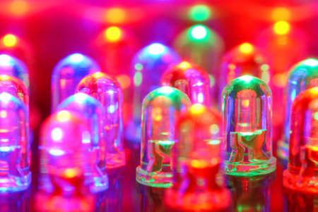 dozens: Colorful LED background with dozens transparent LEDs. Stock Photo