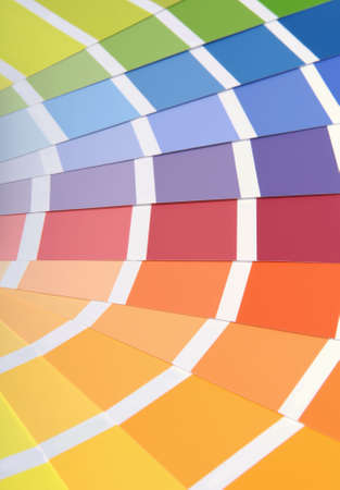 sorted: Different sorted colour samples for wall paint. Stock Photo