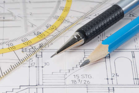 characteristic: Drawing - Characteristic symbol image for architecture and Stock Photo