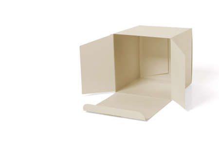 Recumbent open carton on white background. 版權商用圖片
