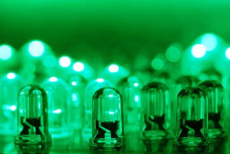 dozens: LED background with dozens transparent green LEDs.  Stock Photo