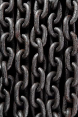 Old weathered industrial steel chain for use as background. photo