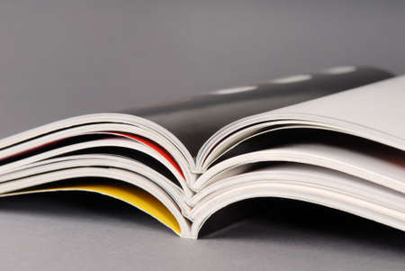 Stack of some different magazines. Banco de Imagens