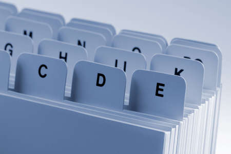 card file: Close up of a Business card index. Stock Photo