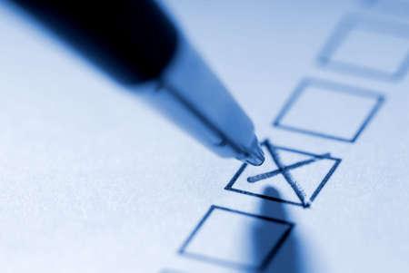 Pencil macro: To mark with a cross. 版權商用圖片