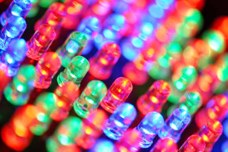 Colorful LED background with dozens transparent LEDs
