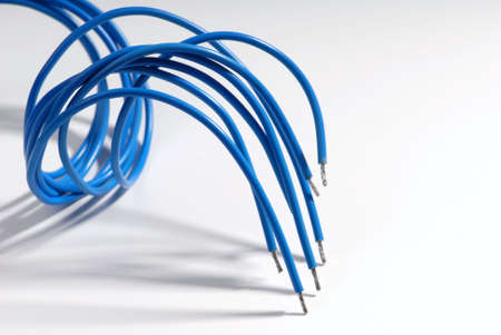Some blue cables on white background. 版權商用圖片