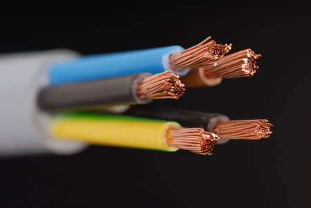 Macro detail of a powercable.
