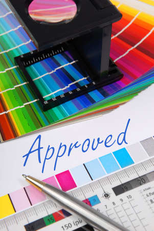Approved, Characteristic image for the pre-press and printing industry. Stock Photo - 3906638