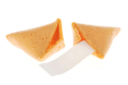 Broken fortune cookie with text banner. Stock Photo - 4006410