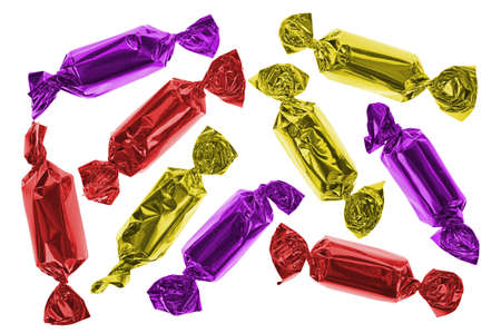 Nine colorful candies in red, gold and purple.