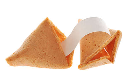Broken fortune cookie with text banner. Stock Photo - 4676017