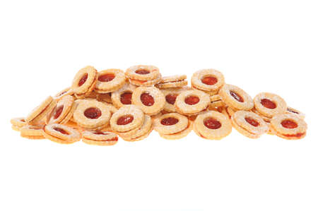 Some beautiful homemade Christmas cookies, isolated on white.  photo