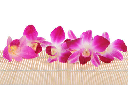Close up of pink orchis on rattan background. photo