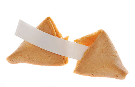 Broken fortune cookie with text banner.