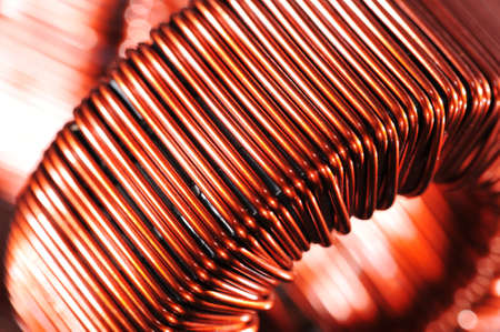 Macro detail of a copper inductor in a transformer  Banco de Imagens