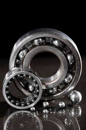 closeup view of several ball-bearings