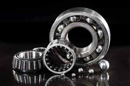 closeup view of several ball-bearings