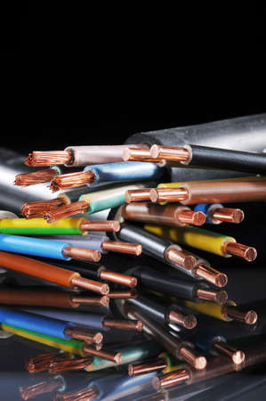 grounding: Macro detail of different stripped power cables