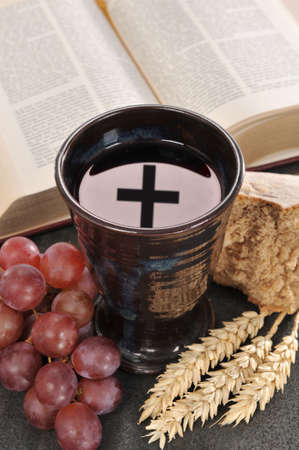 Bread, wine and bible for sacrament or communion Banco de Imagens