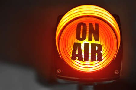 Glowing red ON AIR display for radio and television