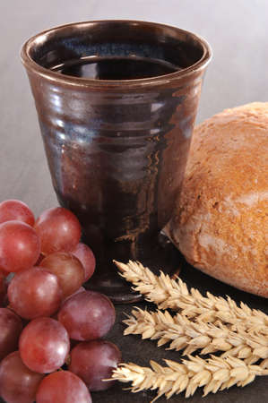Bread and wine for sacrament or communion photo