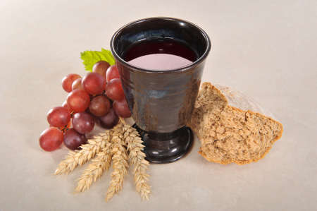 Bread and wine for sacrament or communion Stock fotó
