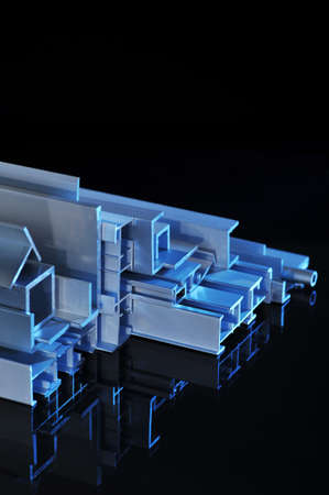 many different aluminum sectional strips in blue spotlight