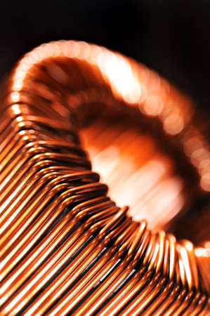 reactive: Macro detail of a copper inductor in a transformer