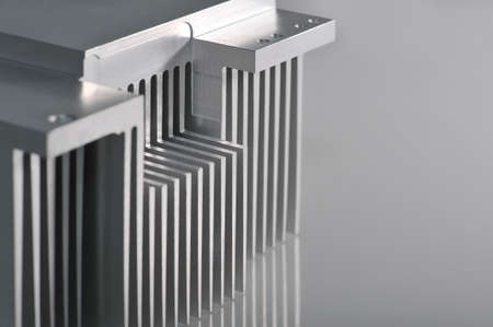 Stylised industrial background - showing detail of an CNC manufactured aluminum cooling plate