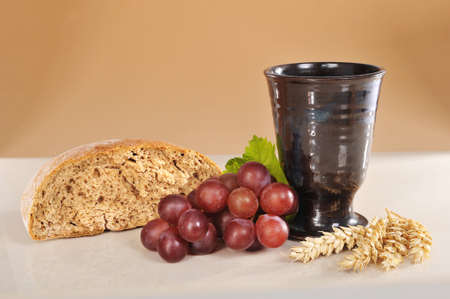 bread and wine: Bread, wine and bible for sacrament or communion Stock Photo