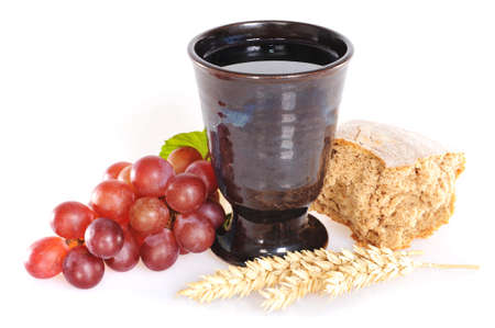 Bread and wine for sacrament or communion 版權商用圖片