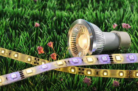 different LEDs-technologies on a lawn Stock Photo