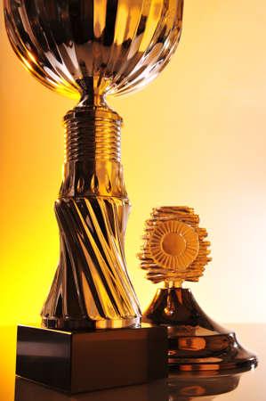 boast: dettaglio di un trofeo cromato in luce eccezionalmente Archivio Fotografico