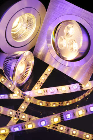 different current LEDs-technologies in one picture photo