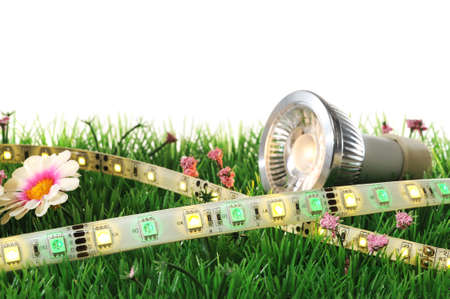 different LEDs-technologies on a lawn Imagens