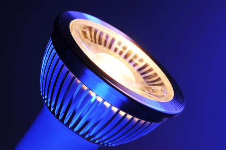 macro detail of a warmwhite COB-LED in blue spotlight