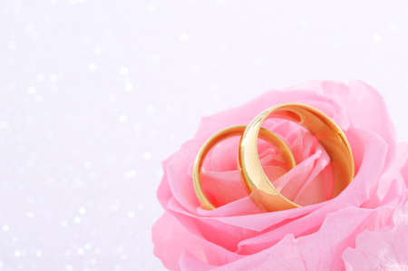 cordiality: Two golden rings in pink rose on white sparkle background Stock Photo