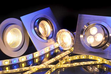 verschiedene Strom LEDs-Technologien in einem Bild Lizenzfreie Bilder