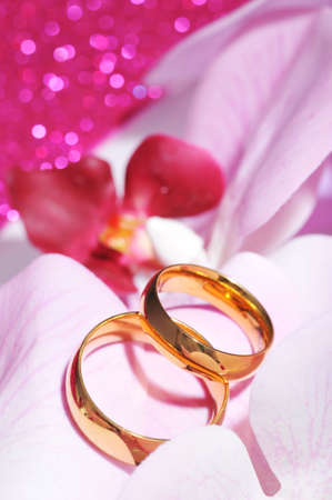 Two golden rings in pink orchis on pink glitter background Imagens