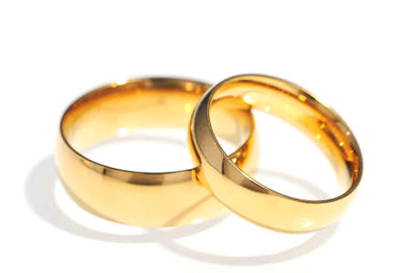cordiality: Two golden rings on white background