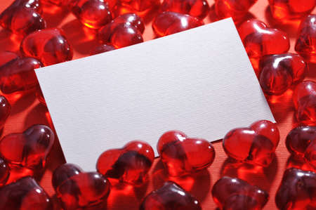 cordiality: Red glass-hearts white greeting card