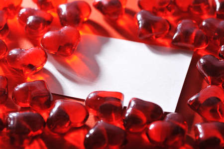 mother'sday: Red glass-hearts with white greeting card Stock Photo