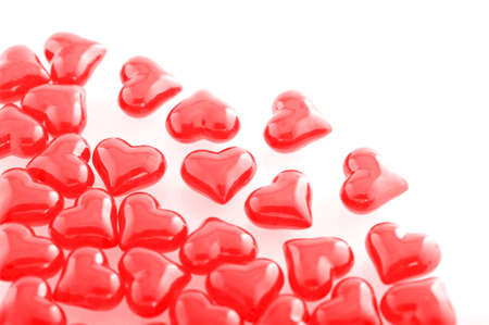mother'sday: Red glass-hearts on white background Stock Photo